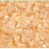 Square Beads 3.4x3.4mm Round Hole Light Gold Luster